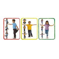 16 images de postures de yoga adaptées aux enfants et dont l'objectif est le développement de l'équilibre et du contrôle corporel. Ces cartes peuvent être utilisées de manière individuelle et collective. Livrées avec 32 feuilles plastifiées représentant des pierres qui serviront de base à la posture. Dim. cartes 28 x 22 cm. Dès 3 ans.