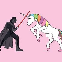 Unicorn fighting Darth Vader, 5x7 print