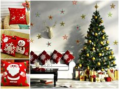 Bows And Ribbons Wall Decal Sticker Christmas Party Decorations Christmas Wall Decor Christmas Windo Christmas Party Decorations, Paper Decorations, Holiday Decor, Wall Christmas Tree, Christmas Stars, Ribbon Wall, Triangle Wall, Wall Decor Pictures, Stickers