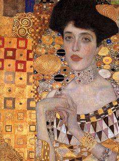 """""""Porträt von Adele Bloch-Bauer-"""" (Detail), 1907, Gustav Klimt. (Via)"""