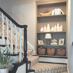 We love the alcove built into this #stairway! (Wall color: our Nimbus 1465). #Regram from @livingwithlandyn #designinspiration #interiordesign