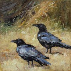 Two Crows. Deb Kirkeeide, oil.