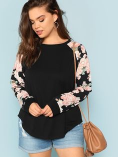 SHEIN Plus Round Neck Floral Raglan Sleeve Top #fashion #fashionista #clothes #dress #shein ,women's plus size clothing including dresses, tops, bottoms, and lingerie. plus size clothing plus size dresses plus size fashion plus size clothes affordable plus size clothing trendy plus size clothing urban plus size clothing cute trendy plus size clothes plus size plus size womens clothing trendy plus size clothing plus size clothing stores plus size maxi dresses plus size stores cheap plus size…