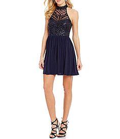 36e228acfa9 Xtraordinary Mock Neck Sequin Pattern Bodice Dress  Dillards Semi Dresses