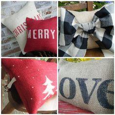 burlap letter-stencil pillows.