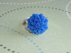 Blue Dahlia Adjustable Ring, Patriotic Finger Fun | JanellDunlapJewelryDesigns - Jewelry on ArtFire