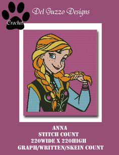 (4) Name: 'Crocheting : Anna Frozen Crochet Graph Pattern