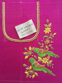 Sudhasri hemaswardrobe Peacock Blouse Designs, Kids Blouse Designs, Wedding Saree Blouse Designs, Simple Blouse Designs, Fancy Blouse Designs, Hand Designs, Traditional Blouse Designs, Kurti Sleeves Design, Maggam Work Designs