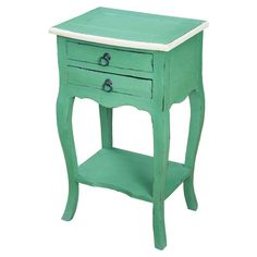 Distressed Green Finish Accent Table with Cream Trim - Overstock™ Shopping - Great Deals on Coffee, Sofa & End Tables Painted Furniture, Furniture Design, Painted Wood, My New Room, Home Decor Inspiration, Decor Ideas, End Tables, Bedside Tables, Contemporary Furniture