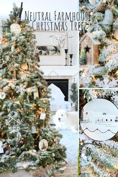 A large farmhouse Christmas tree with neutral large Christmas ornaments, galvanized bells, natural wood birdhouses and cinnamon stick garlands.
