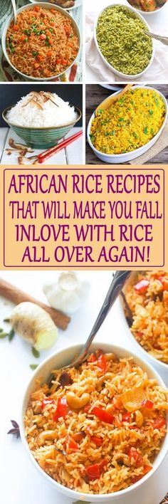 Taste the flavors of Africa with these Amazing African Rice Recipes that will ma. - Taste the flavors of Africa with these Amazing African Rice Recipes that will make you fall inlove - Vegetarian Recipes, Cooking Recipes, Healthy Recipes, Vegetarian Italian, Cooking Games, Quick Recipes, Healthy Meals, African Rice Recipe, South African Recipes