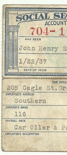Historical Document; the first issue of SS cards was November 1936. This one is from January, 1937. My great-grandfather, J.H. Smith
