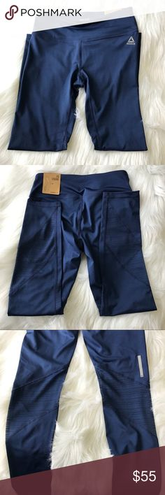 Blue Reebok Women's Sports Leggings Adorable blue colored Reebok leggings with cute line designs at the bottom of legs in size small. Reebok Pants Leggings