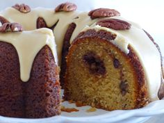 Gluten-Free Pecan Pie Bundt Cake with Pecan Crumble and Praline Frosting Recipe : Food Network - FoodNetwork.com
