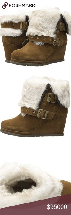 """🆕 FUR LINED WEDGE BOOTIES Folks, this is the real deal! Faux fur and soft, genuine suede. Microfiber sock liner. 2.25"""" heel. 11"""" circumference. 6"""" shaft. Manufacturer recommends going down in size if in between sizes. No trades or modeling. Caterpillar Shoes Ankle Boots & Booties"""