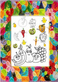 FRUCTE SI LEGUME de colorat / PLANSE de colorat pentru copii - Universul piticilor