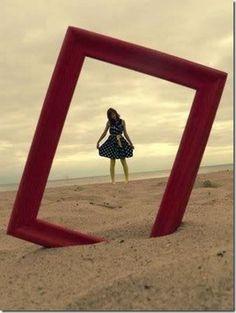 Empty frame on the beach