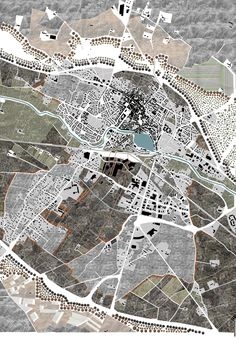 architecture - Urban planning project for the town of Castelnaudary (France) The theme was, how to link the city with a new environment; a wild nature Architecture Site Plan, Architecture Mapping, Architecture Graphics, Architecture Drawings, Architecture Diagrams, Urban Mapping, Masterplan, Urban Design Plan, Landscape And Urbanism