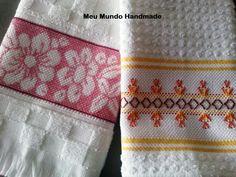 Panos de Prato Bordados em Ponto Cruz e Vagonite. #Crossstitch #handmade #embroidery