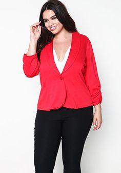 Blazin' Red Ruched Blazer. #redandblack #blazer #debshops