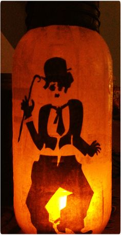 I love Charlie Chaplin, so I just had to make a lantern for him