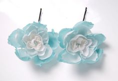 Two mint and white silk bobby pins by ModaMakovera on Etsy, $19.00