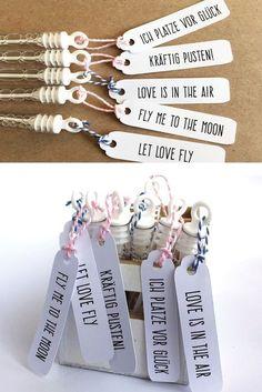 20 Seifenblasen mit Etiketten für die Hochzeit #weddingdecoration