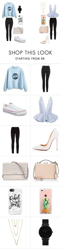 """""""!!!!!!!!!!!!!"""" by caitlinkansil on Polyvore featuring Topshop, Converse, Leal Daccarett, Paige Denim, Christian Louboutin, Michael Kors, Mark Cross, Casetify, The Casery and SHAN"""