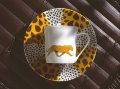 leopard coffee cup and saucer.so jungle! (#safari, #out of africa, #jungle) Jungle collection, safari, , Dinnerware, porcelain, Africa, hand made,FRAGILE by Patricia Deroubaix.Limoges France