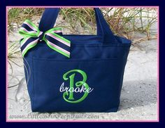 Just ordered a pink/black one for Josie.  But I think I need this blue/green combo ;) // Initial and Name Monogrammed Lunchbox Cooler Personalized Hot Pink Navy Green Uniform Private School Girls Bag Insulated kids childrens. $17.95, via Etsy.