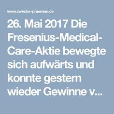 26. Mai 2017 Die Fresenius-Medical-Care-Aktie bewegte sich aufwärts und konnte gestern wieder Gewinne verzeichnen. Zum Börsenende am Donnerstag wurde die Aktie des Gesundheitsunternehmens bei einem Kurs von 82,50€ gehandelt. Umgerechnet bedeutet das einen Gewinn von 1,13% verglichen mit dem Vortag. Das aktuelle 7-Tagehoch erreicht die Marke von 82,50€ und wurde gestern erreicht, das 7-Tagetief wird