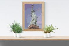 Cross Stitch Pattern: Statue of Liberty New York USA America Lady Stitchy Wonders - embroidery art realistic large chart download PDF Hand Embroidery Patterns, Embroidery Art, Cross Stitch Fabric, Cross Stitch Patterns, Liberty New York, Pattern Making, Statue Of Liberty, Colours, Crafty