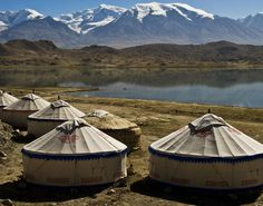 Yurts at Karakul Lake in the Xinjiang Uyghur Autonomous Region of China. A homestay in a yurt is less than ten dollars, which includes dinner and breakfast.