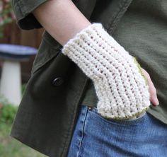 Spool knit wrist warmers (spool made from popsicle sticks!)