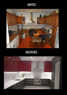 Cocina con puertas bajas en color wengue y puertas altas lacadas en color burdeos con silestone blanco Zeus. Un cambio redical!