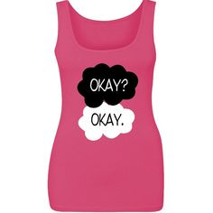 Okay Okay Women's Tank Top the Fault in Our Stars Tops (9.97 CAD) ❤ liked on Polyvore featuring tops, black, tanks, women's clothing, print tank top, print top, black singlet, cotton tank and pattern tank top