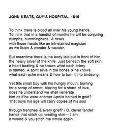 John Keats, Guy's Hospital, 1816 by Keaton St. Pretty Words, Love Words, Beautiful Words, Poem Quotes, Words Quotes, Sayings, Guy's Hospital, English, Writing Inspiration