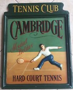Tennis wall art Tennis club Cambridge Sport Antique tennis art Tennis decor Tennis wall decor Court Tennis sign Retro decor Vintage wall art Vintage Wall Art, Vintage Walls, Vintage Home Decor, Wimbledon Tennis Club, Tennis Gifts, Tennis Clubs, Pub Bar, Billboard, Cambridge