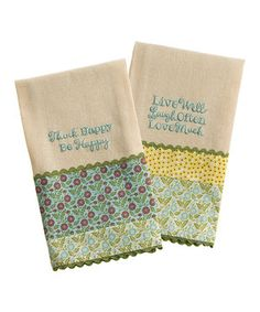 This Happy Linen Guest Towel Set by Grasslands Road is perfect! #zulilyfinds