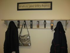 Coat Rack Made With Distressed Barn Wood And Antique Door Knobs
