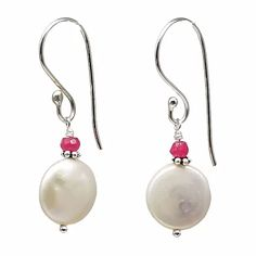 White Coin Pearl with Ruby Cap Earrings | leannefdesigns Ruby Earrings, June Birth Stone, Hand Wrap, Special Birthday, Precious Metals, Handcrafted Jewelry, Birthstones, Iridescent, Coins