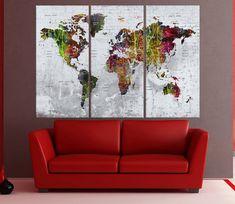 Large Push pin world map wall art print, wall art canvas,  wall decor art print, abstract map, extra large world map art No:7S47
