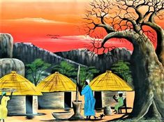 African Artwork, African Art Paintings, Art Paintings For Sale, Original Paintings, Wall Paintings, Watercolor Paintings, Original Artwork, African Hut, Tribal African