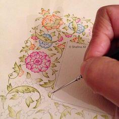 Painting Source by Islamic Art Pattern, Pattern Art, Watercolor Cards, Watercolor Paintings, Watercolours, Illustration Blume, Illumination Art, Turkish Art, Art Courses