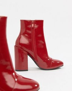 c85bb927fe9 RAID Dolley Red Patent Heeled Ankle Boots. Brown Ankle Boots OutfitBooties  OutfitRed BootsMid Calf BootsBlack ...