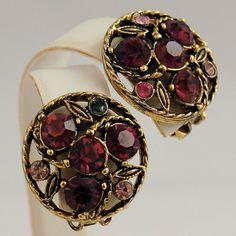 Vintage Purple Rhinestones Clip Earrings Antique Brass Setting from Antik Avenue on Ruby Lane