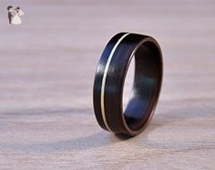 Ebony ring with offset sycamore inlay. Suitable as a wedding band, engagement ring or promise ring. Wooden jewellery for man and woman. - Wedding and engagement rings (*Amazon Partner-Link)