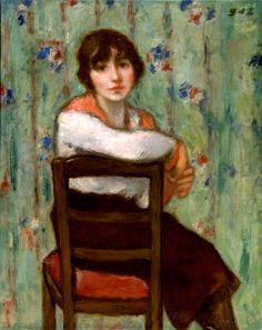 """Girl with a Red Scarf, Georges d""""Espagnat"""