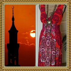 ❤HOST PICK❤Arabian adventure orange maxi dress So exotic and brightly fun maxi dress. Rich orange purple and white colors. Bronze colored metal detailing at the shoulders. Elastic under the bustline. Pull over style. Bisou Bisou Dresses Maxi