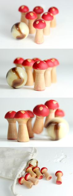 Giveaway - Ends Today!  Mini-mushroom Bowling Set - great desk toy, cute in micro terrarium, add to play sets...  http://on.fb.me/1jXNNpn